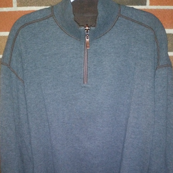 NWT Tommy Bahama Gray 1//4 Zip Reversible Sweater Mens Medium  Brown Grey NEW